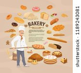 vector bakery  bread and cakes... | Shutterstock .eps vector #1189243081
