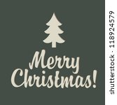 merry christmas sign with tree | Shutterstock .eps vector #118924579