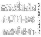 set of modern city skyscrapers...   Shutterstock .eps vector #1189251667