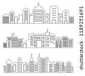 set of modern city skyscrapers...   Shutterstock .eps vector #1189251691