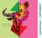 bull and bear symbols on stock... | Shutterstock .eps vector #1189268047