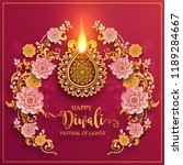 happy diwali festival card with ... | Shutterstock .eps vector #1189284667
