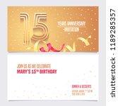 15 years anniversary invitation ... | Shutterstock .eps vector #1189285357