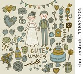wedding vector set. cartoon... | Shutterstock .eps vector #118929205