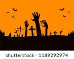 graveyard and zombie's hand... | Shutterstock .eps vector #1189292974