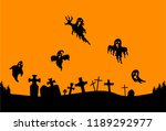 graveyard and ghost silhouette... | Shutterstock .eps vector #1189292977