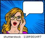 pop art surprised blonde woman... | Shutterstock .eps vector #1189301497