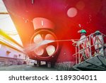 two people washing ship  work... | Shutterstock . vector #1189304011