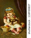 Old Print Vintage Child And Dog
