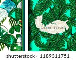 card with tropical patchwork... | Shutterstock .eps vector #1189311751