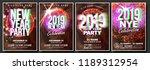 2019 party flyer poster set... | Shutterstock .eps vector #1189312954