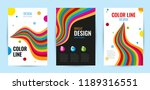 set leaflet with bright rainbow ...   Shutterstock .eps vector #1189316551