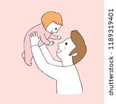 cartoon cute father and... | Shutterstock .eps vector #1189319401