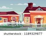 Houses In Flood Vector...