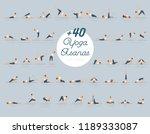 vector illustration of  40 yoga ... | Shutterstock .eps vector #1189333087