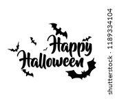 happy halloween lettering bat...   Shutterstock .eps vector #1189334104