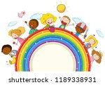 doodle kids on the rainbow... | Shutterstock .eps vector #1189338931