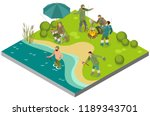 fishing tourism isometric... | Shutterstock .eps vector #1189343701