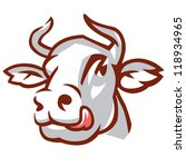 head of licking cow. stylized... | Shutterstock .eps vector #118934965