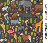 flat style pattern with puma ... | Shutterstock .eps vector #1189350391