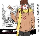 lovely girl on a street... | Shutterstock .eps vector #118936381