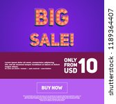 big sale banner with light... | Shutterstock .eps vector #1189364407
