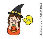 cute cartoon halloween vector. | Shutterstock .eps vector #1189391374