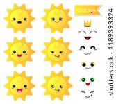 cute happy sun with smile face... | Shutterstock .eps vector #1189393324