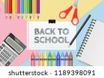 back to school text on... | Shutterstock .eps vector #1189398091
