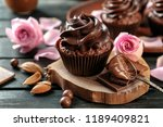 tasty chocolate cupcake on... | Shutterstock . vector #1189409821