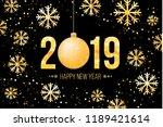 2019 happy new year. golden... | Shutterstock .eps vector #1189421614