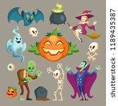 vector halloween characters  ... | Shutterstock .eps vector #1189435387