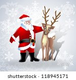 santa claus and deer together | Shutterstock .eps vector #118945171