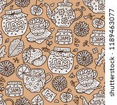 cozy fall hand drawn vector... | Shutterstock .eps vector #1189463077