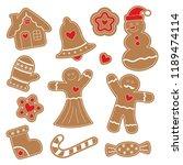 ginger figurines. snowman ... | Shutterstock .eps vector #1189474114