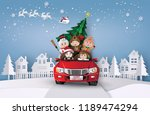 paper art  of merry christmas... | Shutterstock .eps vector #1189474294