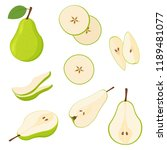set of fresh whole and cut pear ... | Shutterstock .eps vector #1189481077