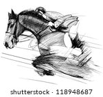 Stock vector vector illustration of a racing horse and jockey 118948687