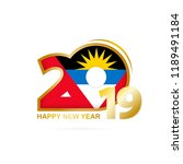year 2019 with antigua and... | Shutterstock .eps vector #1189491184