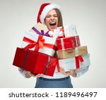 happy woman wearing santa hat... | Shutterstock . vector #1189496497