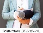 female reporter at press...