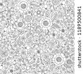 Floral seamless pattern. Zentangle doodle background. Black and white hand-drawn pattern. Coloring book.