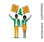 ivory coast flag waving man and ... | Shutterstock .eps vector #1189509004
