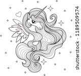 a beautiful unicorn. black and... | Shutterstock .eps vector #1189509574