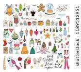 pack of cute christmas... | Shutterstock .eps vector #1189513951