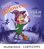 halloween illustration. witch... | Shutterstock .eps vector #1189515991