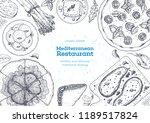 mediterranean cuisine top view... | Shutterstock .eps vector #1189517824