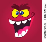 angry cartoon monster face with ... | Shutterstock .eps vector #1189521967
