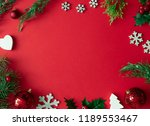 red christmas background with... | Shutterstock . vector #1189553467