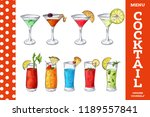 hand drawn cocktail in color.... | Shutterstock .eps vector #1189557841